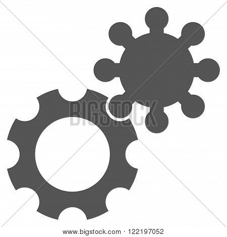 Configuration vector icon. Picture style is flat gears icon drawn with gray color on a white background.