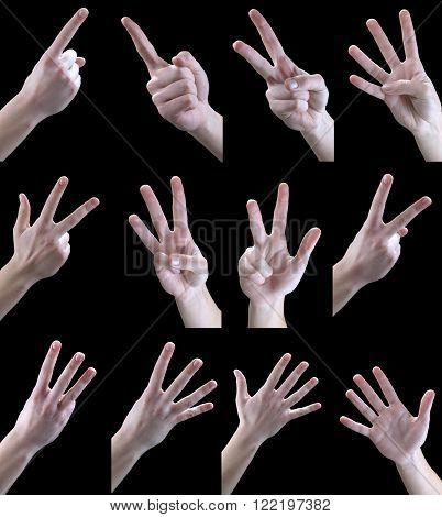 Sets of hand gestures drink on a black background