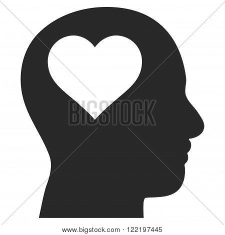 Lover Head vector icon. Picture style is flat lover head icon drawn with gray color on a white background.