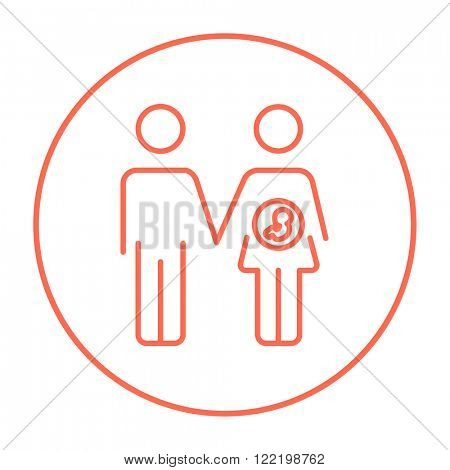 Husband with pregnant wife line icon.