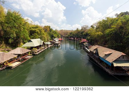 Floating rafts on the Kwai river in kanchanaburi province, Thailand