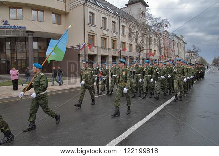 Tyumen, Russia - May 9. 2009: Parade of Victory Day in Tyumen. Cadets of paratroopers faculty of military institute go for participation in parade