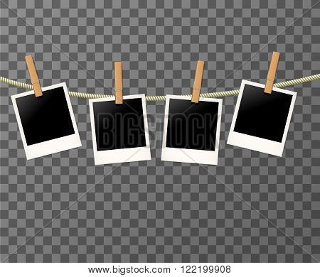 Photo frames on the rope on the transparent background - vector illustration. Blank photos on the clothespin