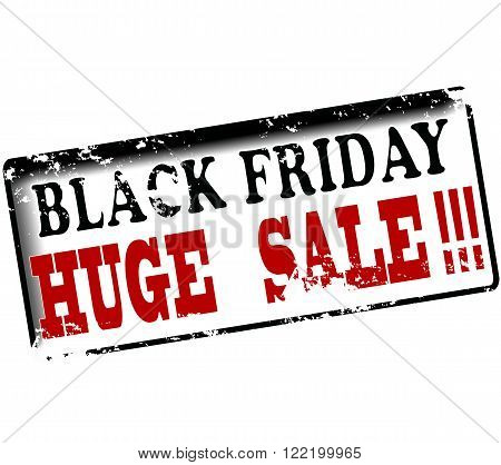 Rubber stamp with text black friday huge sale inside vector illustration