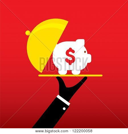 piggy bank on tray concept design vector