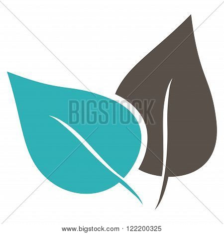 Flora Plant vector icon. Picture style is bicolor flat flora plant icon drawn with grey and cyan colors on a white background.