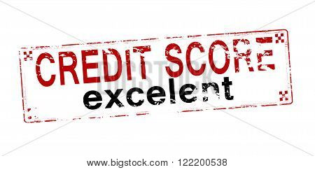 Rubber stamp with text credit score excelent inside vector illustration