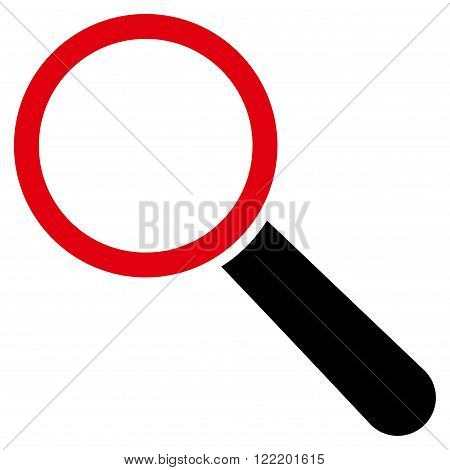 Explore Tool vector icon. Picture style is bicolor flat search tool icon drawn with intensive red and black colors on a white background.