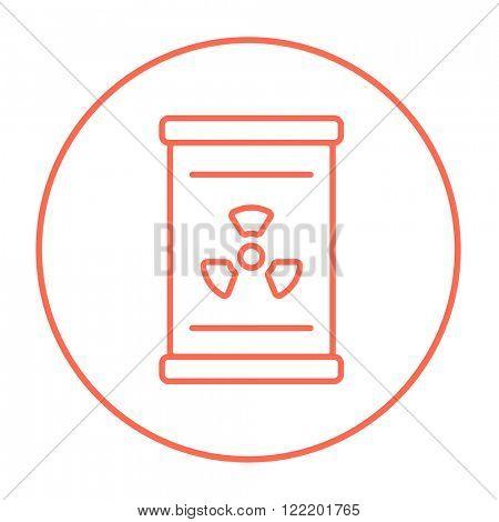 Barrel with ionizing radiation sign line icon.