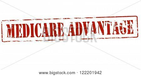 Rubber stamp with text medicare advantage inside vector illustration