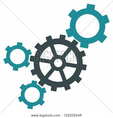 Mechanism vector icon. Picture style is bicolor flat mechanism icon drawn with soft blue colors on a white background.