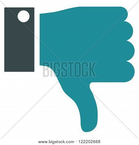 Thumb Down vector icon. Picture style is bicolor flat thumb down icon drawn with soft blue colors on a white background.