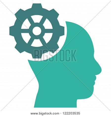 Head Gear vector icon. Picture style is bicolor flat head gear icon drawn with cobalt and cyan colors on a white background.