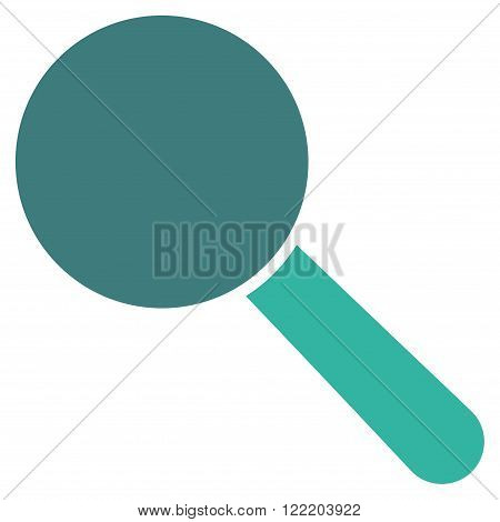 Explore Tool vector icon. Picture style is bicolor flat search tool icon drawn with cobalt and cyan colors on a white background.