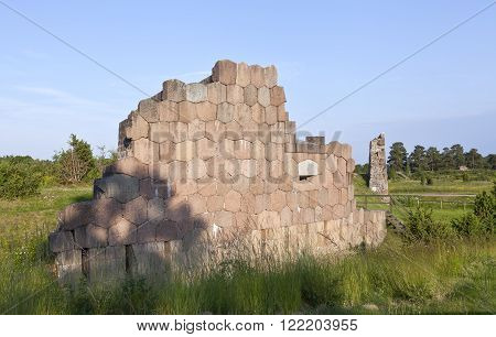 BOMARSUND, ALAND ON JUNE 26. View of a fortress in ruins on June 26, 2013 in Bomarsund, Aland. A 19th century fortress during the Crimean War.