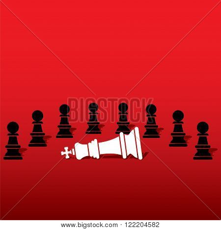 chess black pawn team defeat white king , teamwork concept design vector