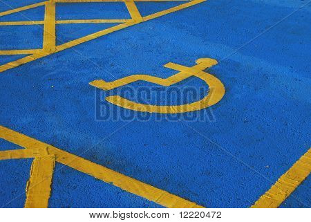 View of disabled persons parking bay in car park
