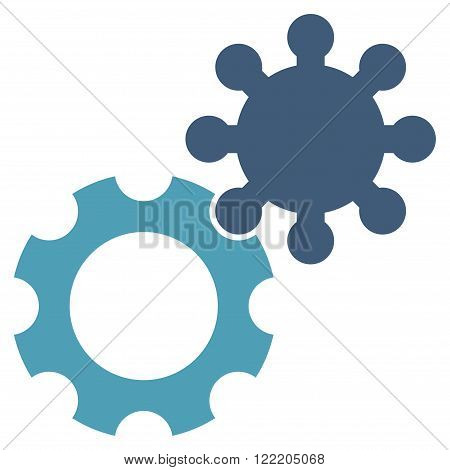 Configuration vector icon. Picture style is bicolor flat gears icon drawn with cyan and blue colors on a white background.