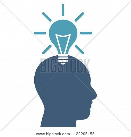 Genius Bulb vector icon. Picture style is bicolor flat genius bulb icon drawn with cyan and blue colors on a white background.