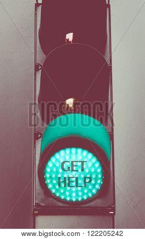 Close Up On Green Traffic Light Message Get Help