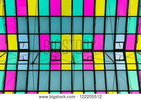 Multicolor ceiling with skylight
