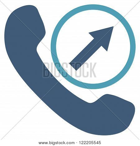 Outgoing Call vector icon. Picture style is bicolor flat outgoing call icon drawn with cyan and blue colors on a white background.