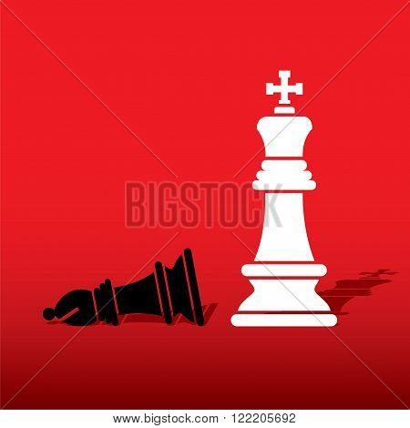 chess white king defeat black bishop concept design vector