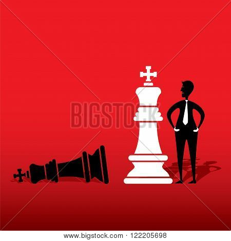 chess white king defeat black king concept design vector