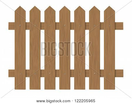 brown wooden fence barrier in the garden on the farm or in the village. Element front garden landscaping.