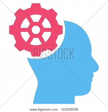 Head Gear vector icon. Picture style is bicolor flat head gear icon drawn with pink and blue colors on a white background.