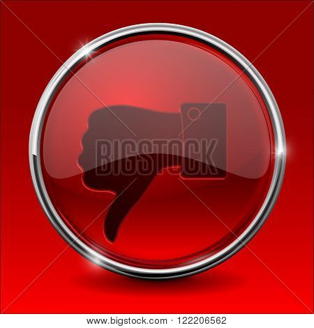 Thumb down icon. Red round shiny button. Vector illustration