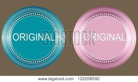 Round original badges set on grey background