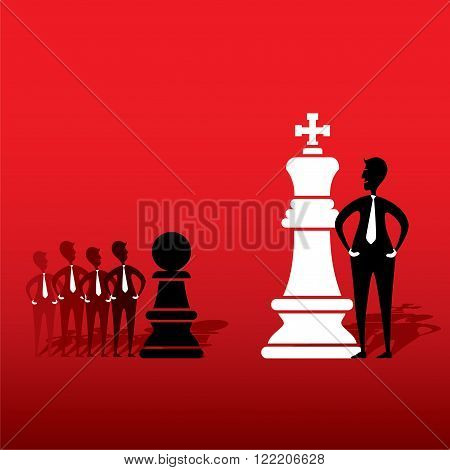 chess king and opposite team pawn game plan with each other design vector