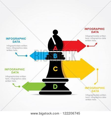 creative business info-graphic by chess bishop design vector