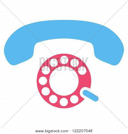 Pulse Dialing vector icon. Picture style is bicolor flat pulse dialing icon drawn with pink and blue colors on a white background.
