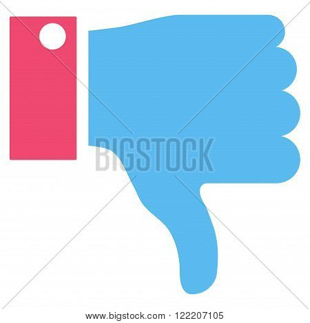 Thumb Down vector icon. Picture style is bicolor flat thumb down icon drawn with pink and blue colors on a white background.