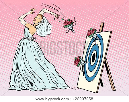 The bride bouquet flower girl throws on target pop art retro style. Wedding and betrothal. Wedding tradition. Bride and flower bouquet