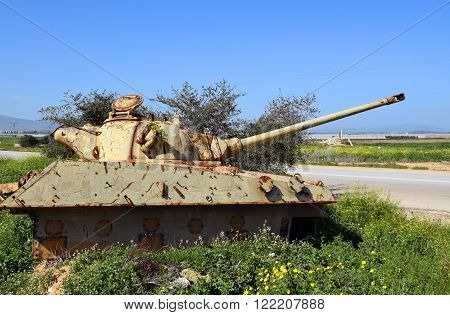 old jordanian destroyed tank left over from the Six Day War in Israel