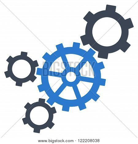 Mechanism vector icon. Picture style is bicolor flat mechanism icon drawn with smooth blue colors on a white background.