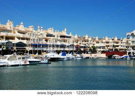 BENALMADENA, SPAIN - JUNE 2, 2008 - View of boats and waterfront in the marina area Benalmadena Costa del Sol Malaga Province Andalusia Spain Western Europe, June 2, 2008.