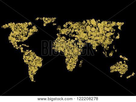 Golden Abstract World map on black background. Vector illustration.