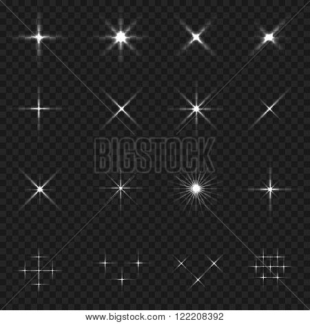 Transparent sparkle icon set. Stars in cosmos