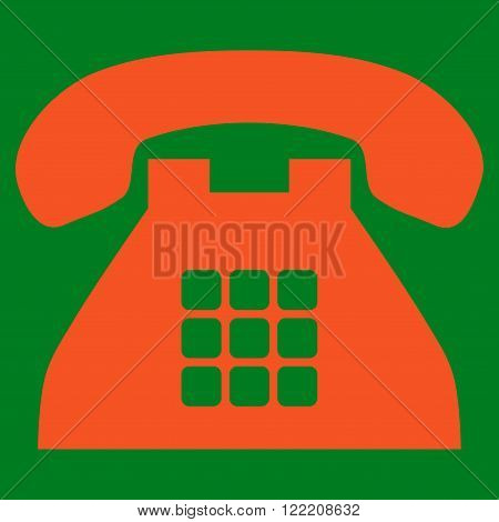 Tone Phone vector icon. Picture style is flat tone phone icon drawn with orange color on a green background.
