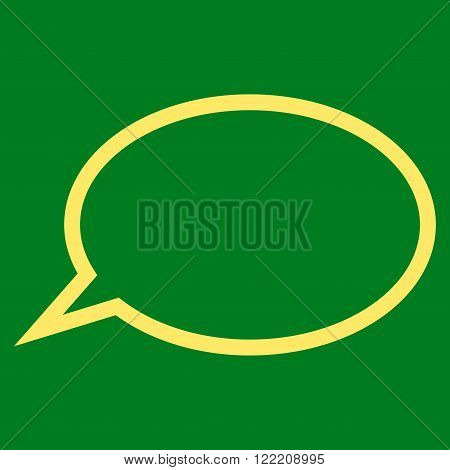 Hint Cloud vector icon. Picture style is flat hint cloud icon drawn with yellow color on a green background.
