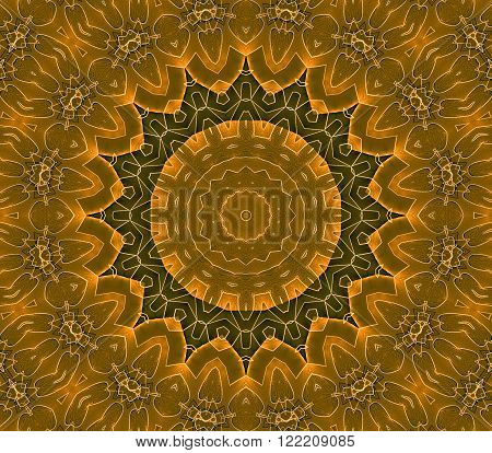 Abstract geometric seamless background. Ornate concentric circle ornament in orange, golden, ocher and dark brown shades with white outlines.