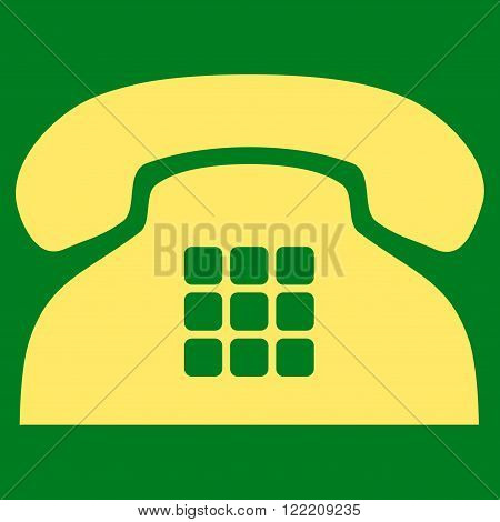 Tone Phone vector icon. Picture style is flat tone phone icon drawn with yellow color on a green background.