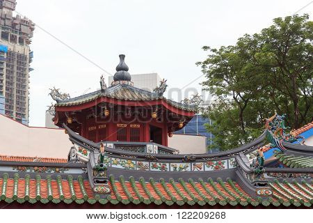Pagoda on buddhistic temple in chinatown, Singapore