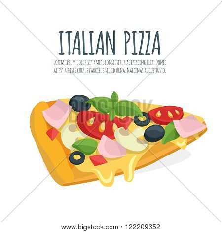Italian pizza slice with mozzarella, cheese and basil leaves. Pizza vector cartoon.