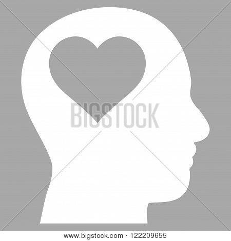 Lover Head vector icon. Picture style is flat lover head icon drawn with white color on a silver background.