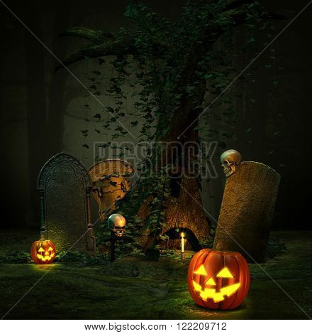 Glowing Jack O Lanterns and a graveyard in a dark mist forest on Halloween...